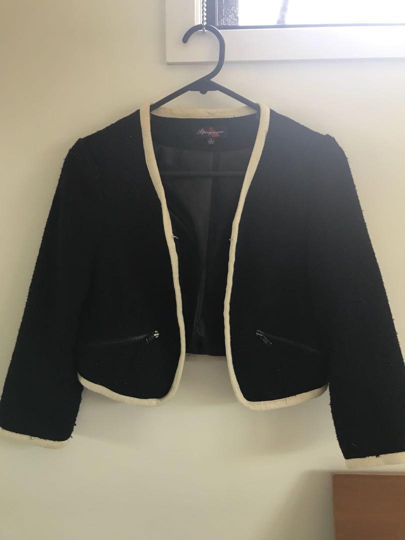 Chanel inspired crop jacket monochrome