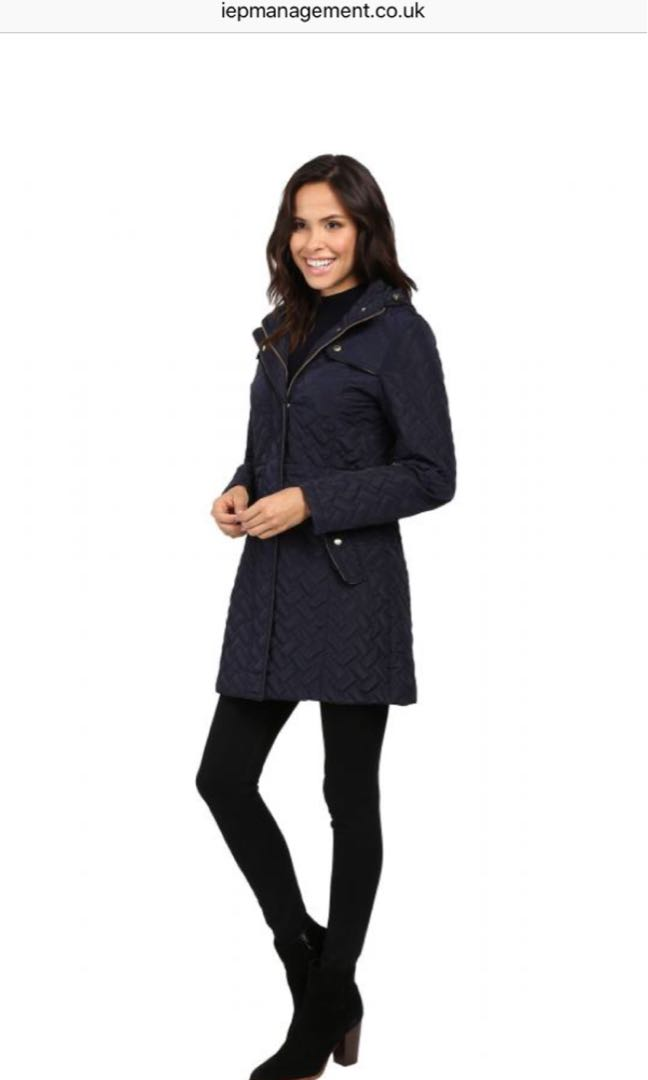 Cole Haan Navy Quilted Coat - Small