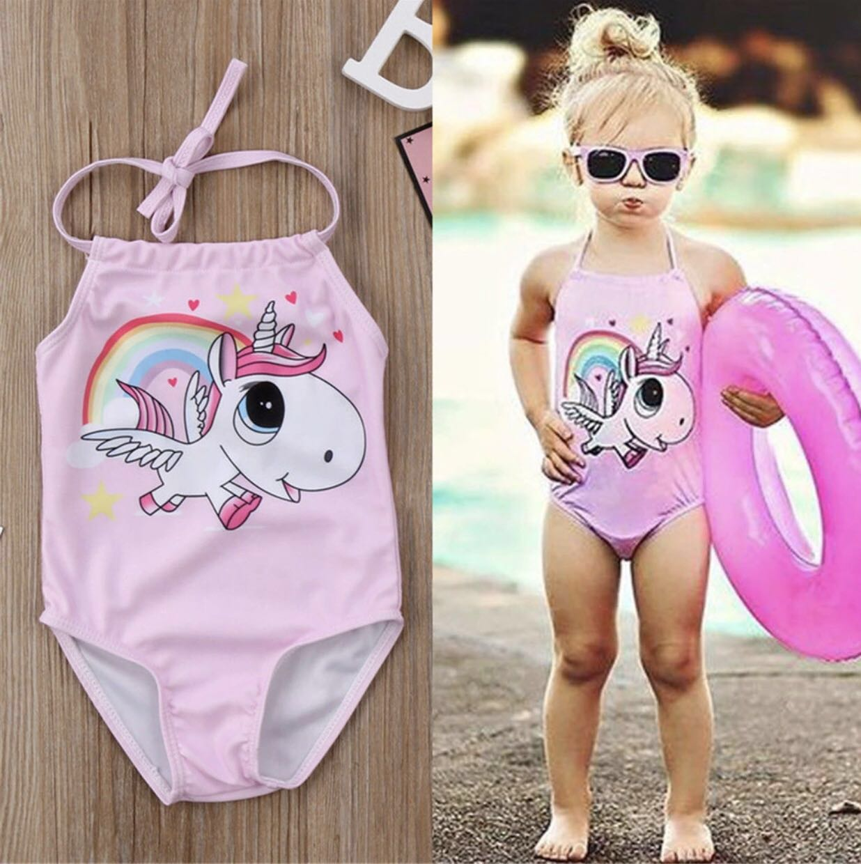 522a3f9a97 Cotton Candy Pink Unicorn 🦄 Kids Beach Swimming Costume Summer ...