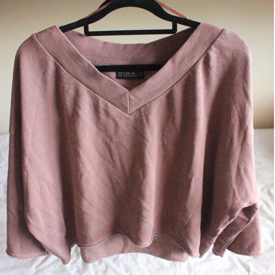COTTON ON Cropped V-Neck Sweater - Size M