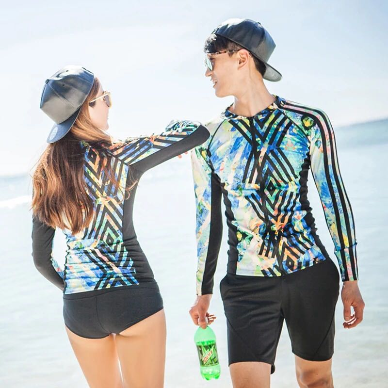 f01d344c7c Couple Geometric Print Zip Rashguard Women's 3 Piece Men's 2 Piece ...