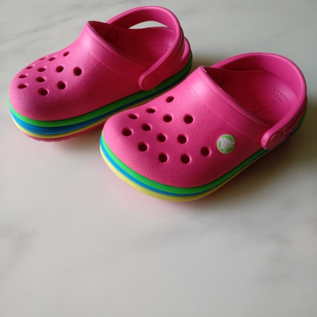 a5e1dc06befa3e Crocs Candy Pink Crocband™ Rainbow Band Clogs Shoes