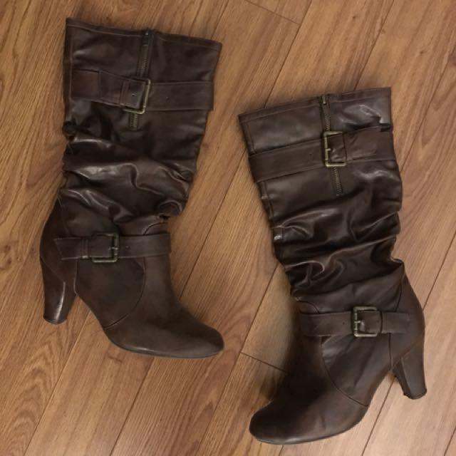 Dark brown heeled boots