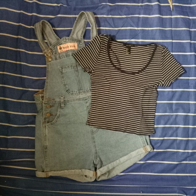 Denim jumper + Forever 21 crop top (set)