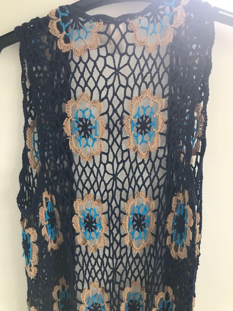 festival Boho long vest Crochet Navy Fringe