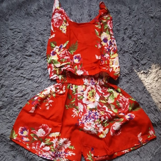Flowery Red Jumpsuit