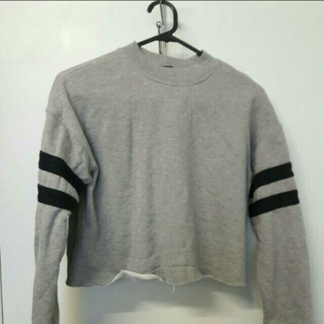 Forever 21 Grey Cropped Sweater with Two Stripes