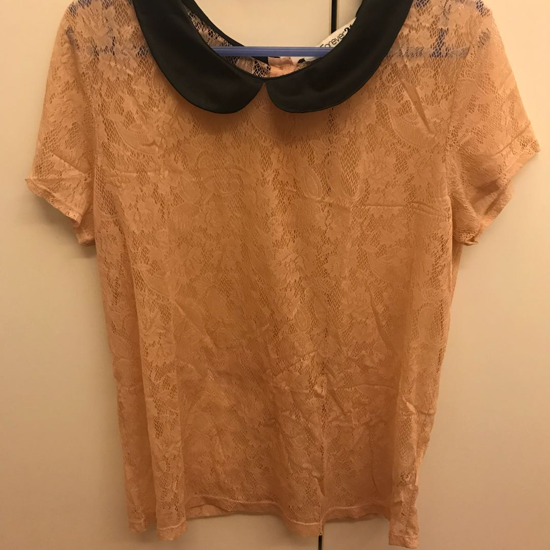 Forever 21 nude/peach lace sheer top