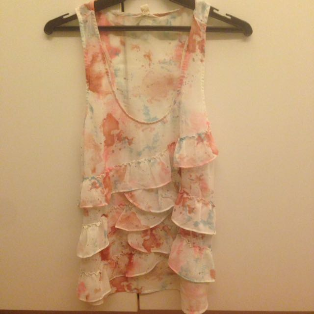 Forever 21 sheer tiered ruffle top