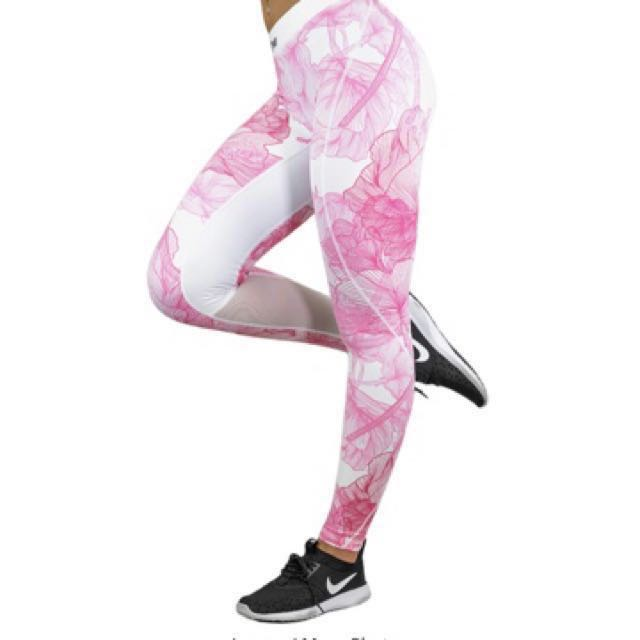 Free postage strong liftwear tights/ leggings work compression pants flower pink