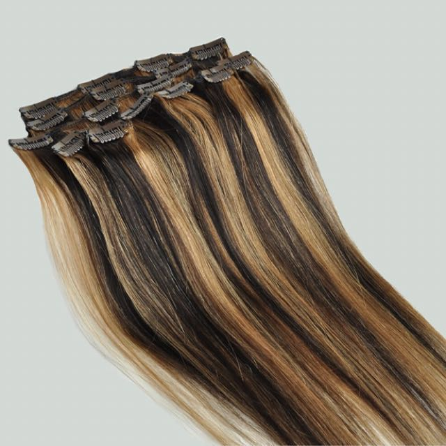 Full Head Clip In 100% Human Hair Extentions 220g