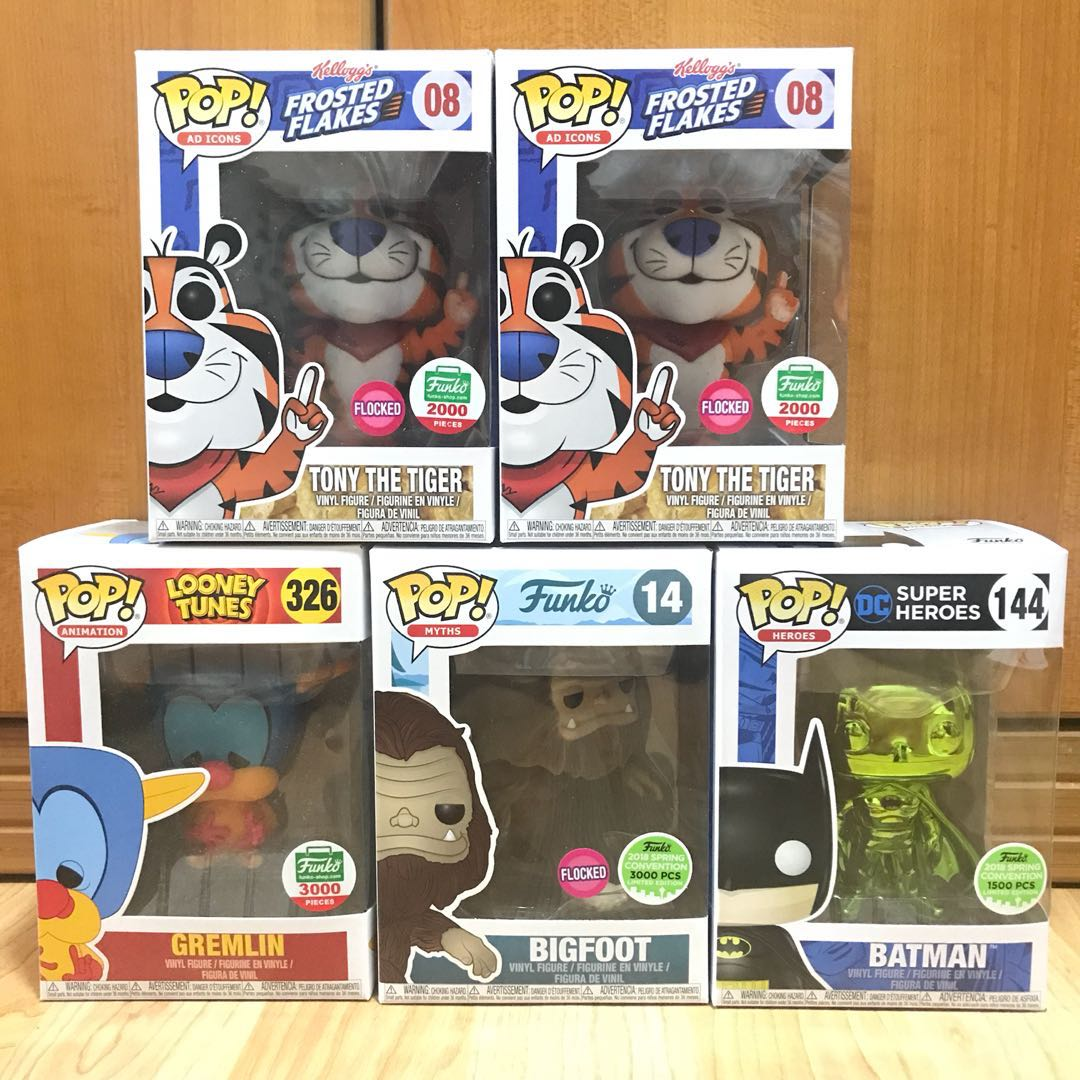 Funko Pop, Batman Emerald, Tony the Tiger, Big Foot and Gremlin