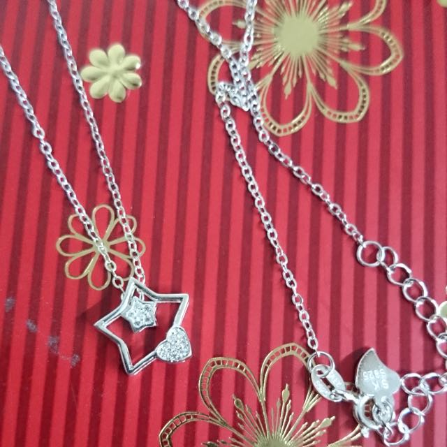 Genuine 925 Italy Silver Star Heart w/ Stones Necklace