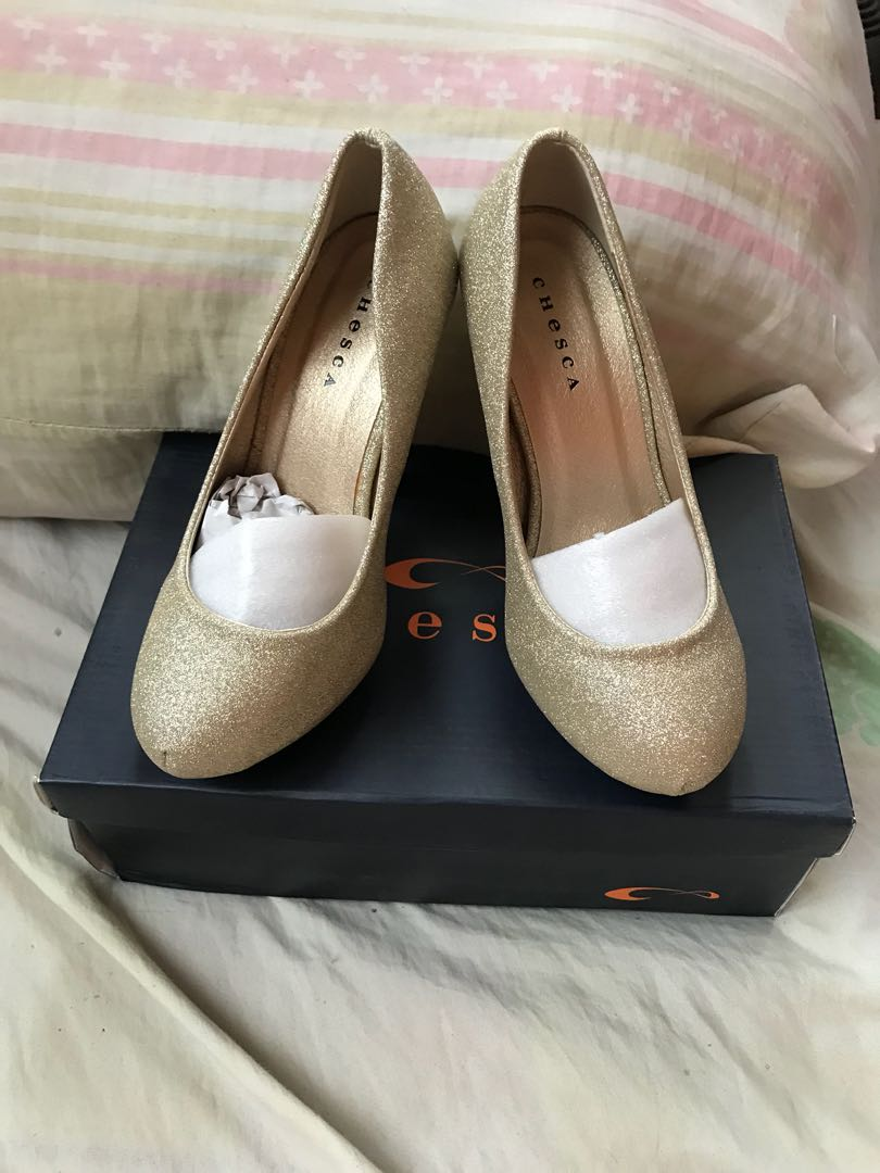 Gold heels shoes