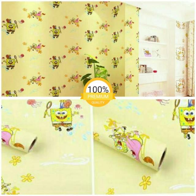 grosir murah wallpaper sticker dinding kuning kartun anak spongebob