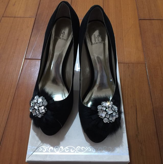 Helene spark天然皮革黑色晚宴鞋