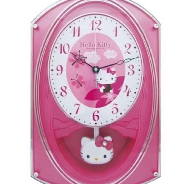 三麗鷗HELLO KITTY凱蒂貓經典整點報時掛鐘 時鐘 壁鐘 音樂鐘