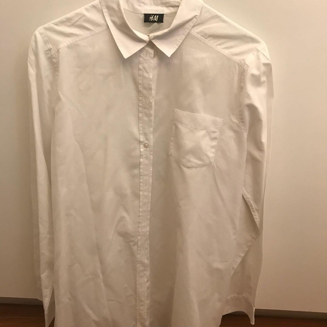 H&M white oversized long sleeved top