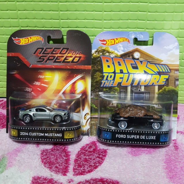 Hot Wheels Retro Series Set Need For Speed 2014 Ford Mustang & Back To The Future