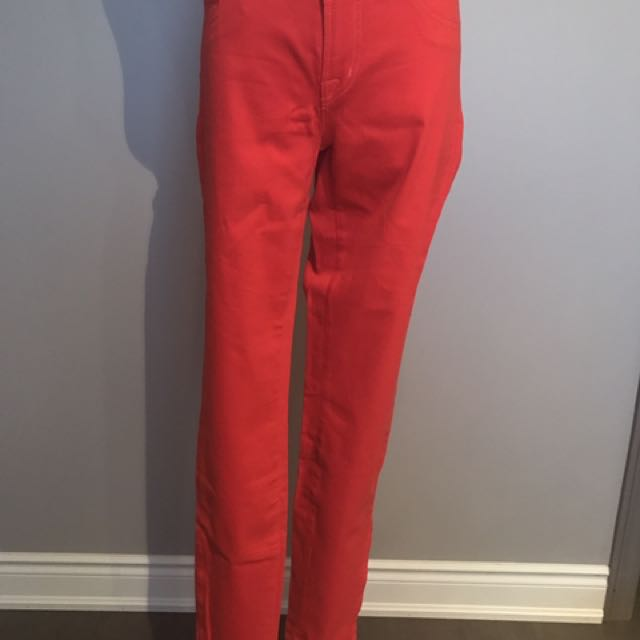 J Brand red-orange skinny jeans with ankle zippers