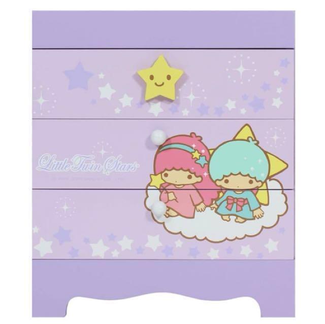 三麗鷗KIKILALA雙子星繽紛款三抽收納盒 置物盒 桌上盒 小物盒 飾品盒