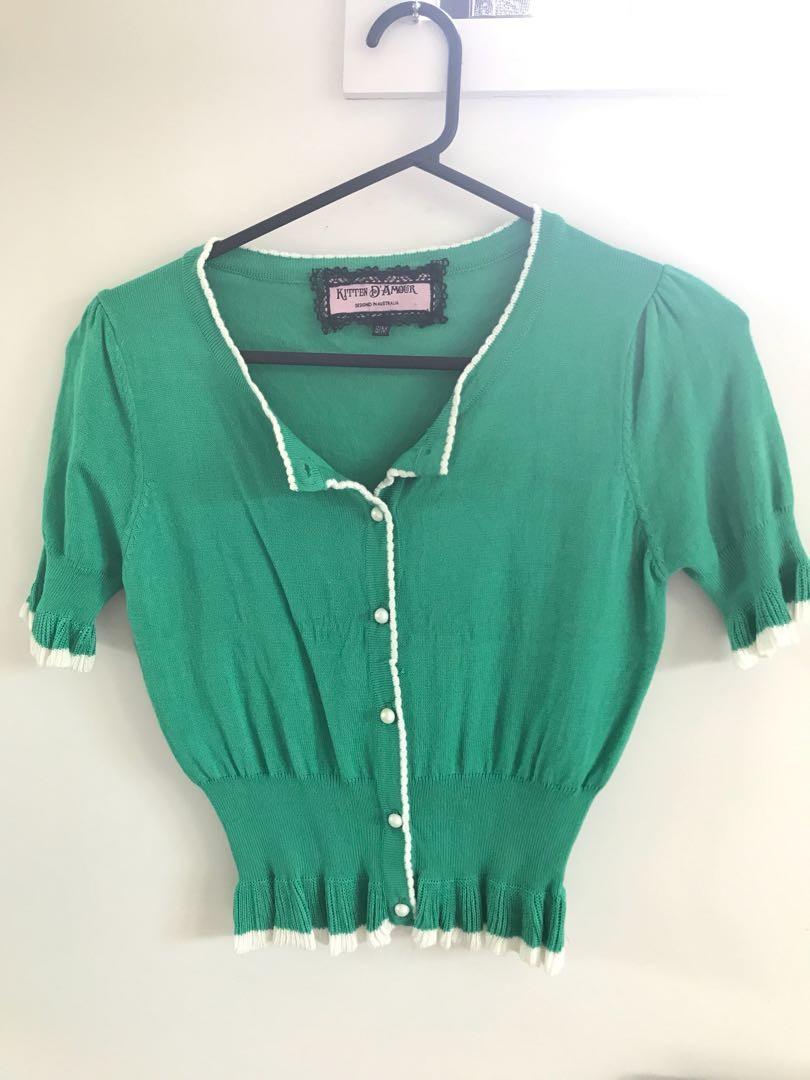 kitten D'Amour top Green size S/M Retro