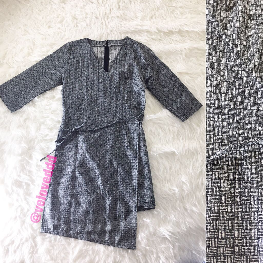 Korean grey kimono wrap sleeve dress