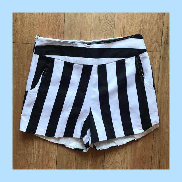 korean high waist stripes shorts