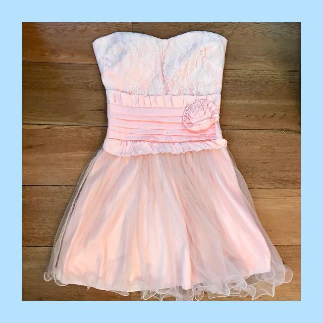 korean pink party dress