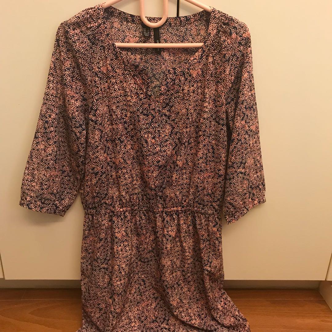Mango pink and blue knee length dress