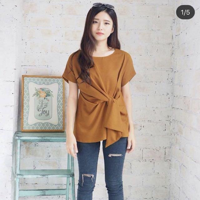 Metta Tied Top || blouse murah atasan murah blouse import atasan import top murah kaos murah kemeja murah