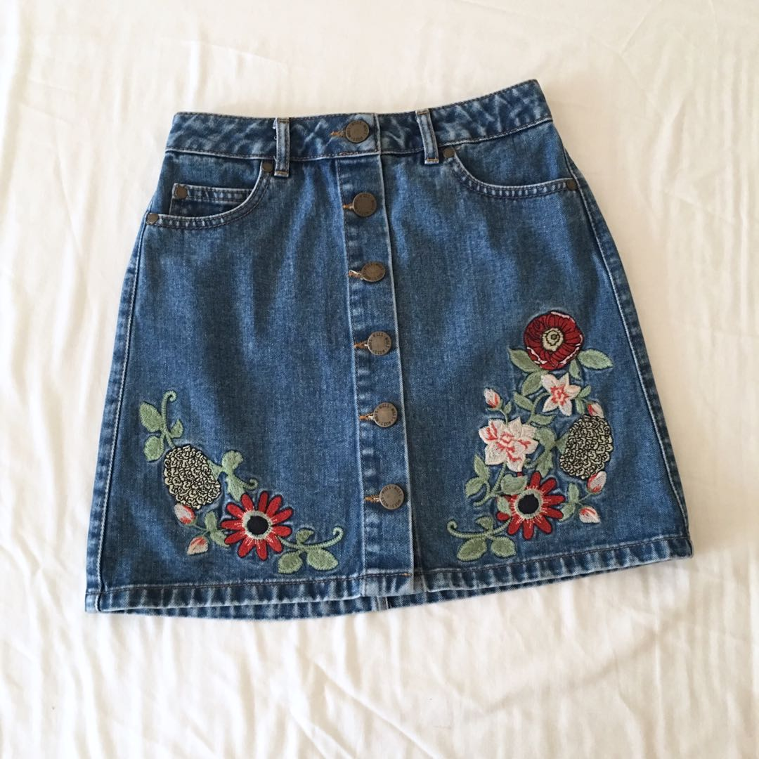 Miss Selfridge Floral Denim Skirt