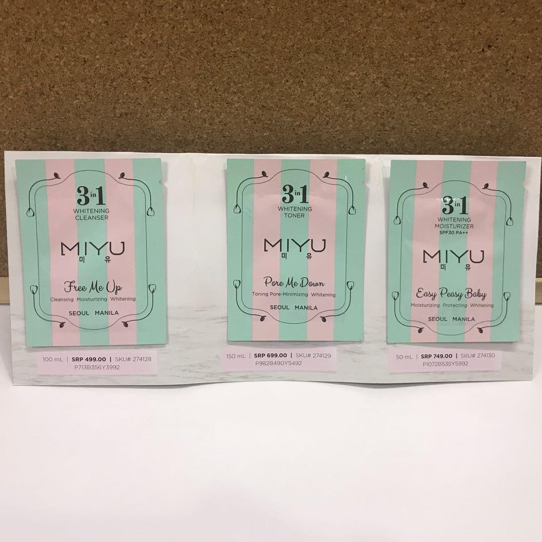 MIYU Skin Care Samples / Facial Wash / Toner / Moisturizer