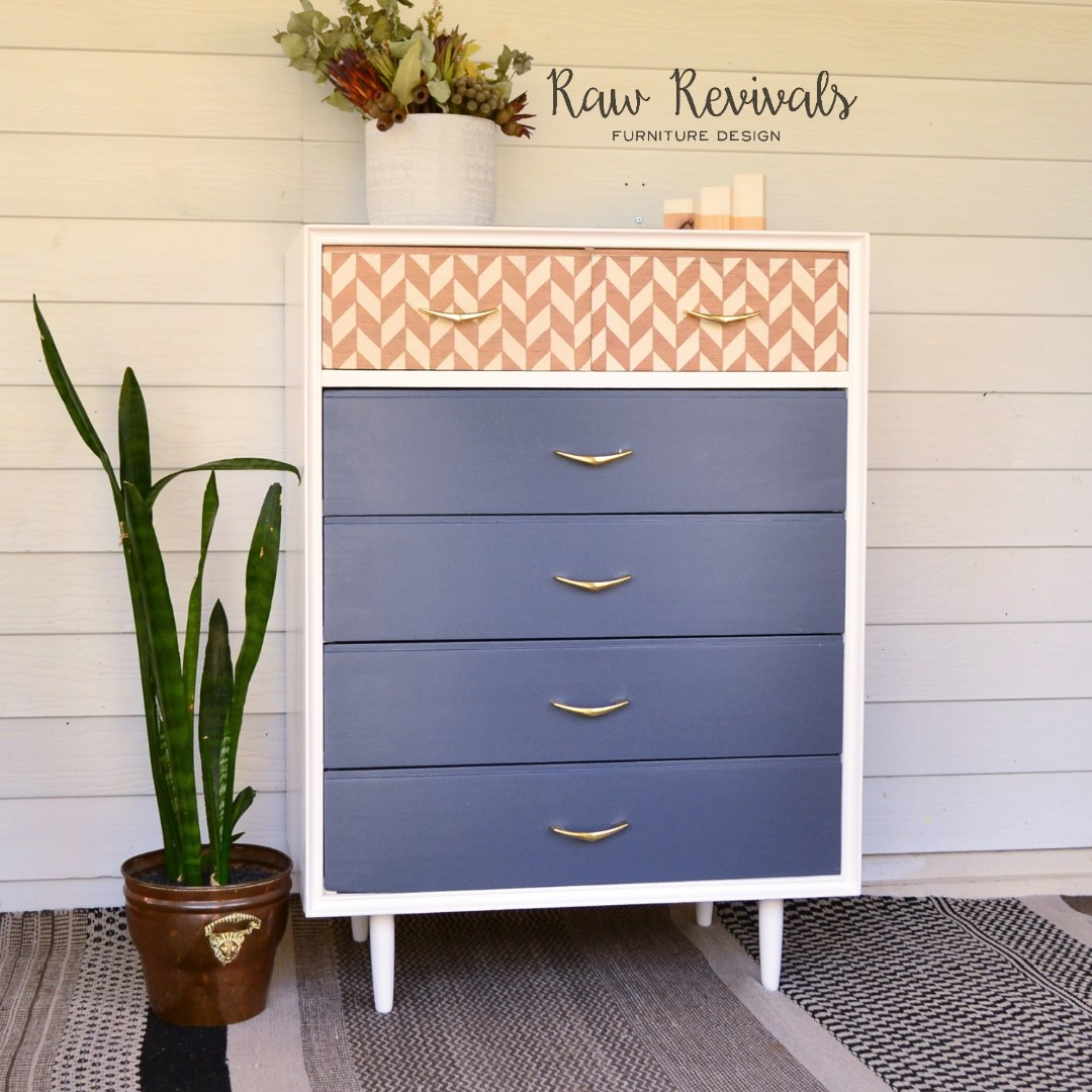 Modern Retro Inspired Charcoal and White Tallboy with Herringbone Pattern