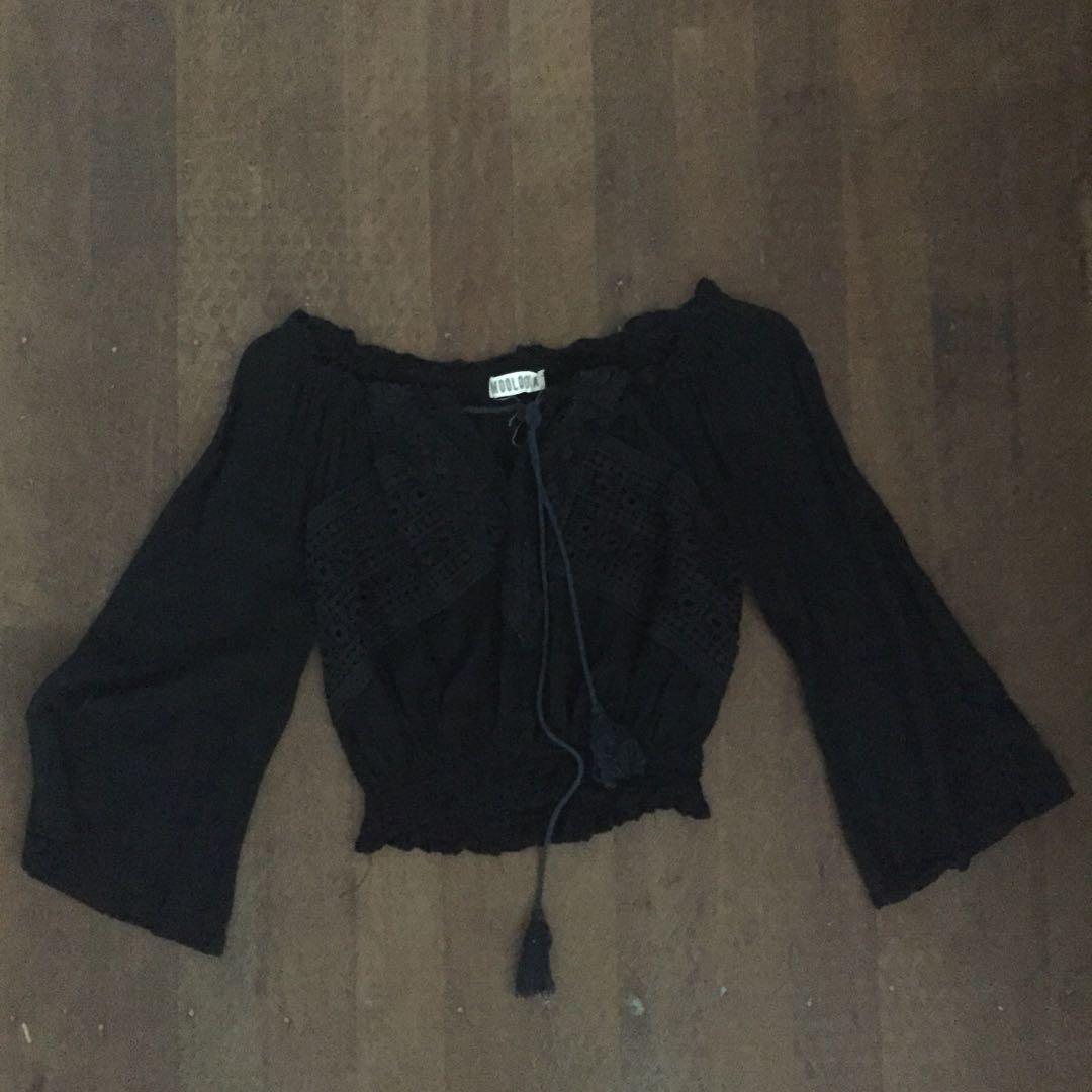 Mooloola black crochet crop top