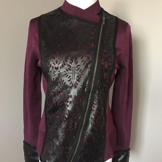 Naeem Khan Timeless purple and black detail assymetrical jacket