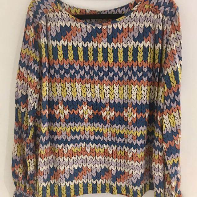 OBUS Size 4 Silk 'Knit Print' top