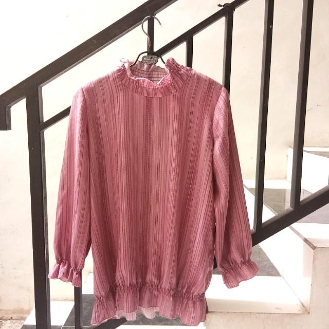 Pink stripes blouse cute