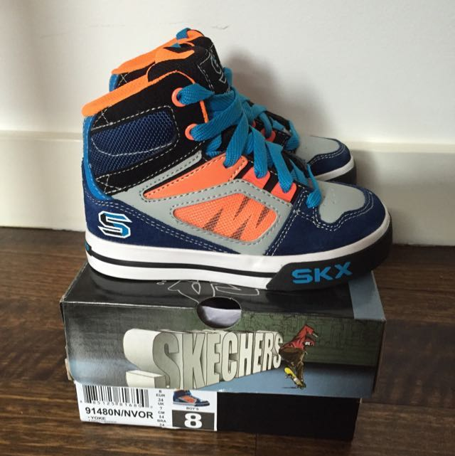 Re-listed! Kids Skechers Yoke High Top Lace Up Navy Orange Grey Trainers - Navy - Size 8