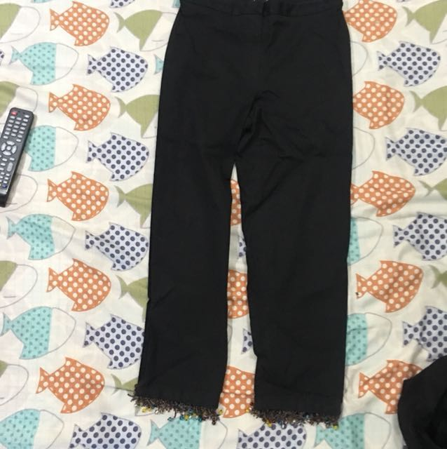 REPRICED! Black Capri pants with beads frills