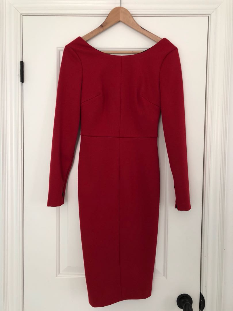 Robert Rodriguez red fitted dress