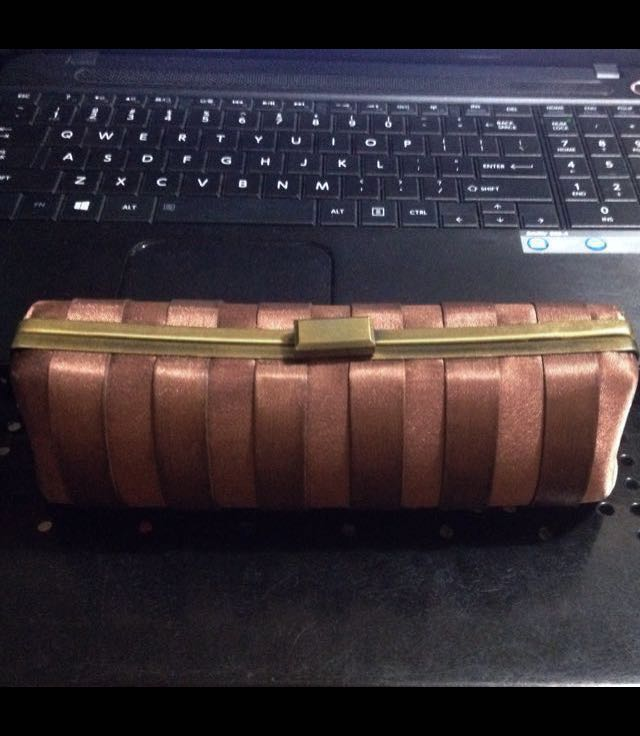 SALE! Clutch by SM Woman , Brown and Brass