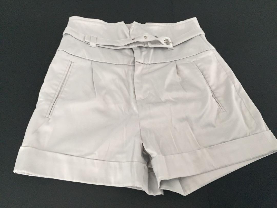 Silk Satin Grey Shorts
