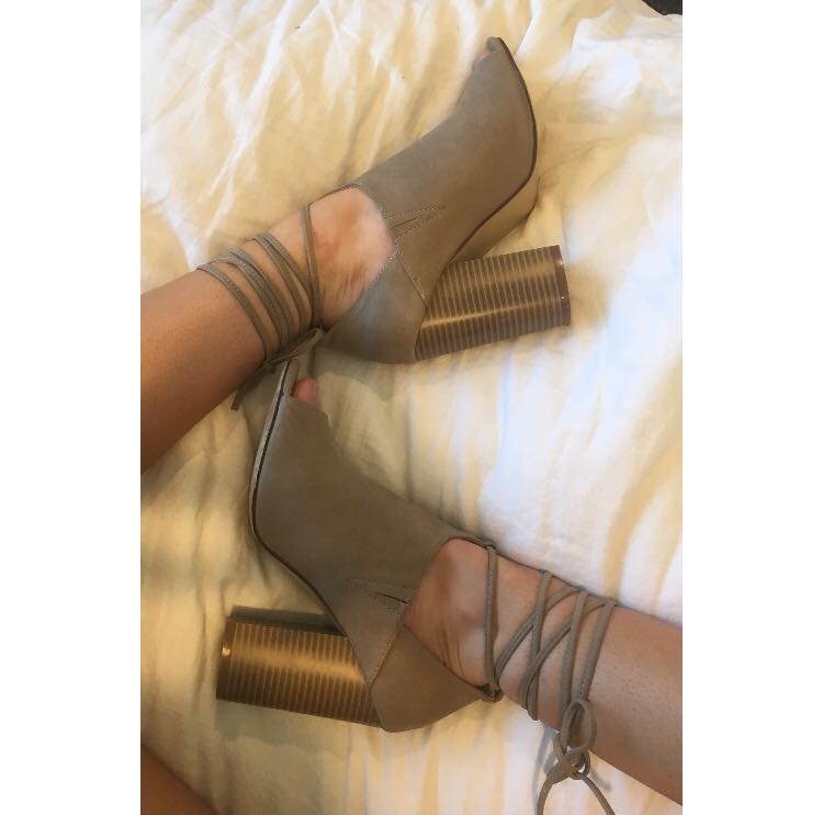 Size 7 nude cut out boots/heels
