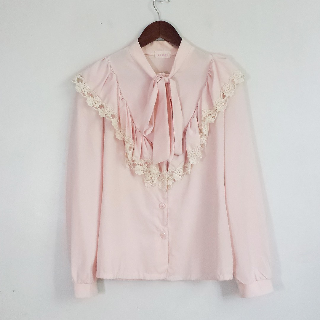 [RESERVED] S-M Pink Tie-Front Frill Blouse Top