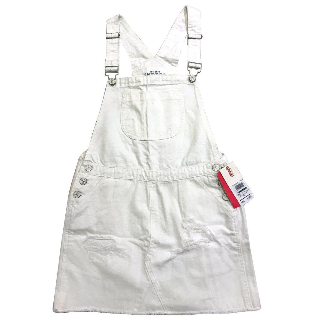 SPAO 🐼全新 休閒 百搭 俏皮 吊帶裙 牛仔裙 白色牛仔吊帶裙