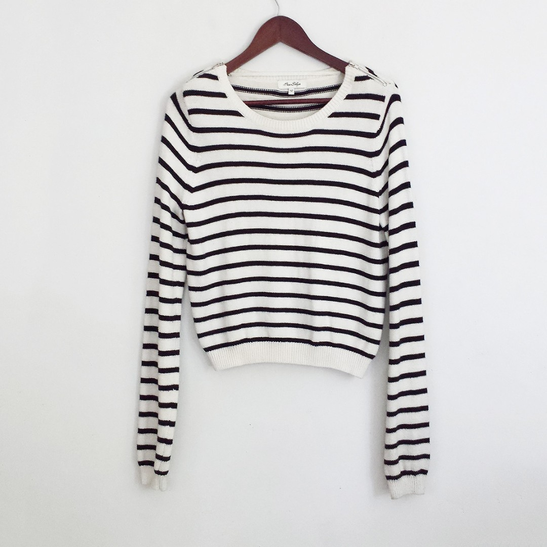 Striped Black & White Zipped Shoulder Sweater Top