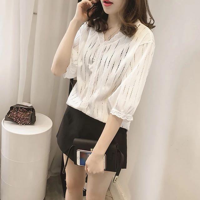韓版女裝性感縷空氣質蕾絲上衣T恤