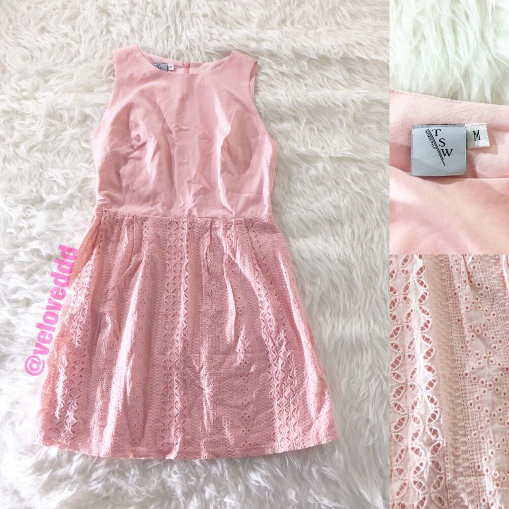 The stage walk peach pink eyelet dress