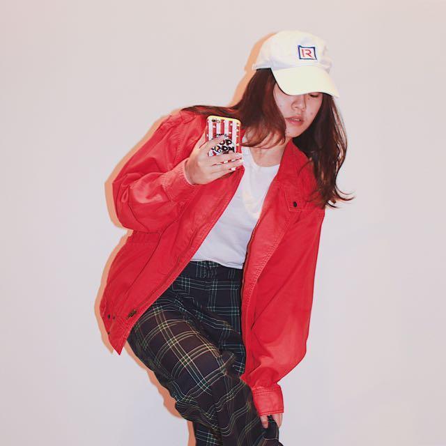 Theme(wei) ✼紅色機車夾克✼ 水洗純棉 立領翻領 插肩袖拉鍊外套 中性 早期復古90s 日本古着